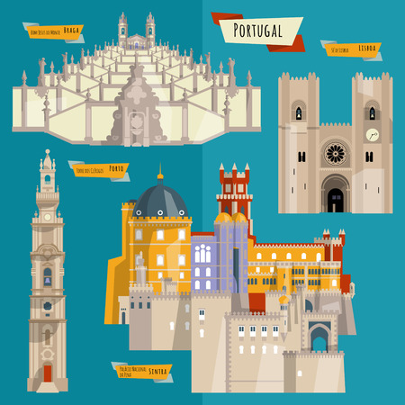 Sights of Portugal. Lisbon, Porto, Sintra, Braga. Europe. Vector illustration