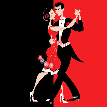 Dancing couple. Art deco. Retro style. Vector illustration.