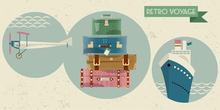voyage: Stack of vintages suitcases. Bon Voyage card, retro style. Vector illustration. Illustration