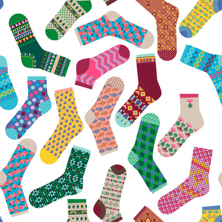 cartoon clothes: Various multi-colored socks. Seamless background pattern. Vector illustration