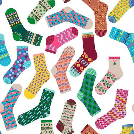 knitting: Various multi-colored socks. Seamless background pattern. Vector illustration