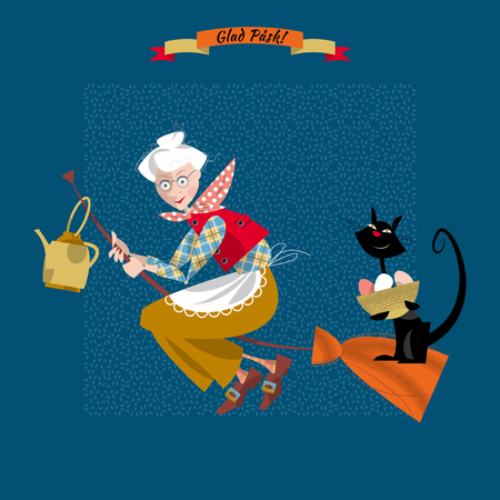 glad: An elderly woman on a broomstick with a cat and a kettle. Scandinavian Easter. Glad Pask! Vector illustration Illustration