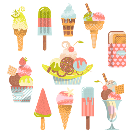 flavors: Different flavors of ice cream. Vector illustration