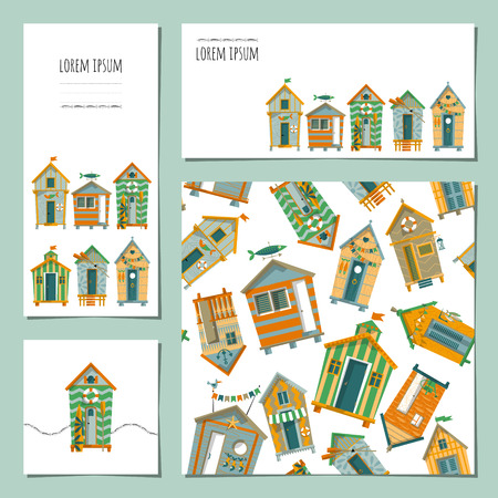beach window: Set of 4 universal cards with beach huts. Template. Beach party, pool party, birthday, holiday. Vector illustration Illustration