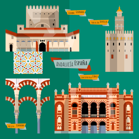 Sights of Andalusia. Seville, Granada, Cordoba, Cadiz, Spain, Europe. Vector illustration