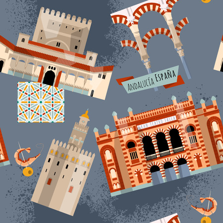 falla: Sights of Andalusia. Seville, Granada, Cordoba, Cadiz, Spain, Europe. Seamless background pattern. Vector illustration