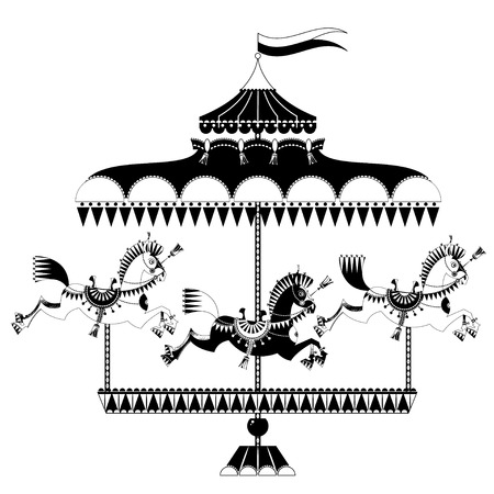 Vintage carousel with horses. Black and white. Vector illustration