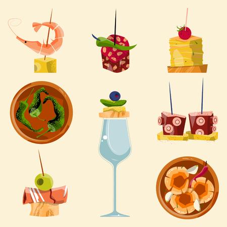 La cuisine traditionnelle espagnole. Sélection des tapas. Vector illustration