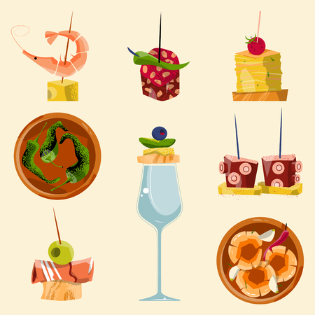 Traditional spanish food. Selection of tapas. Vector illustration