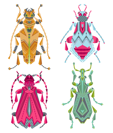 parasitic: Set of 4 various multi-colored insects on a white background. Vector illustration