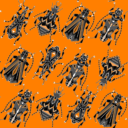 invertebrate: Variety of ornamental  black and white insects on a orange background. Seamless background pattern. Vector illustration Illustration