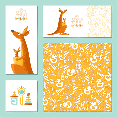 Set of 4 universal invitation cards with a kangaroo and a baby kangaroo. Template. Party, birthday, baby shower. Vector illustration