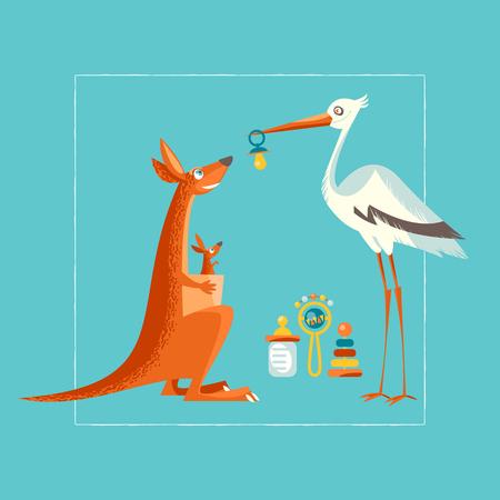 cicogna: Compleanno, baby shower biglietto d'invito. Una cicogna si congratula con un canguro. illustrazione di vettore