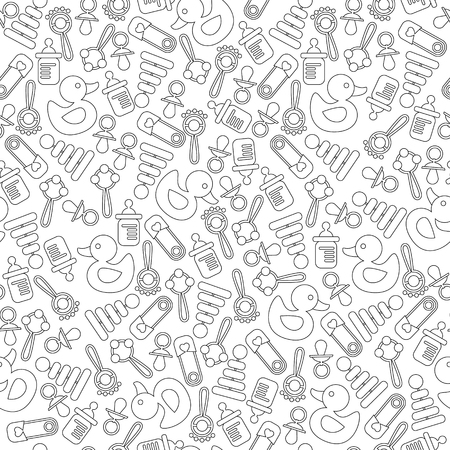 baby announcement card: Seamless background pattern for baby shower, new baby greeting and announcement card. Black and white. Vector illustration Illustration