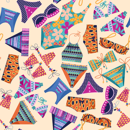 bathing suit: Women's multi-colored swimsuits. Bathing suit various models. Seamless background pattern. Vector illustration Illustration