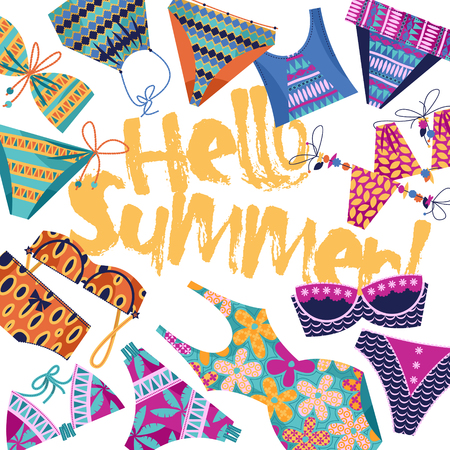 Hello summer! Background with women's multi-colored bathing suits. Template for card, poster, brochure. Vector illustration.
