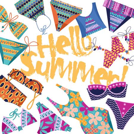 Hallo Sommer! Hintergrund mit Frauen bunten Badeanzügen. Vorlage für Karte, Plakat, Prospekt. Vektor-Illustration.