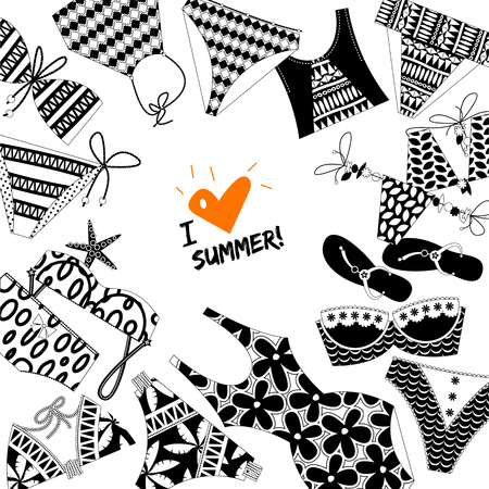 bathe: I love summer! Background with women's black and white bathing suits. Template for card, poster, brochure. Vector illustration.