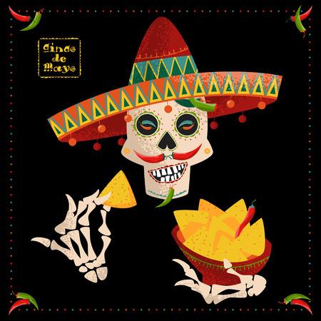 nachos: Cinco de Mayo. Smiling Mexican skull with jalapeno pepper mustache in sombrero eating nachos. Mexican tradition. Vector illustration