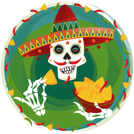 nachos: Mexican food. Smiling skull with jalapeno pepper mustache in sombrero eating nachos. Vector illustration Illustration