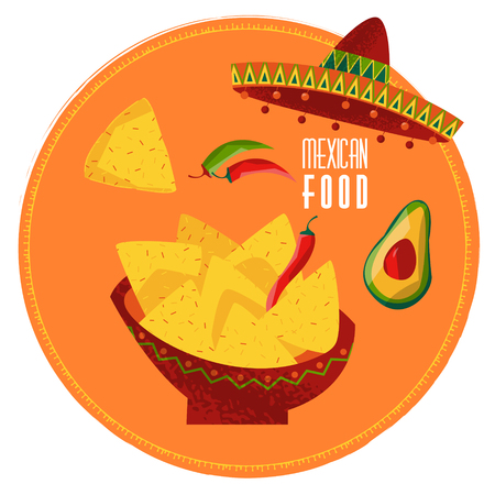 jalapeno: Mexican food. Nachos, jalapeno pepper and avocado. Vector illustration Illustration