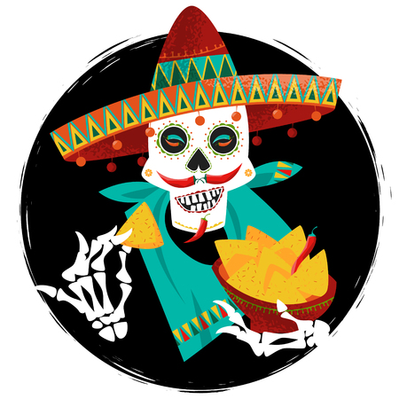 Mexican food. Smiling skull with jalapeno pepper mustache in sombrero eating nachos. Vector illustration Çizim