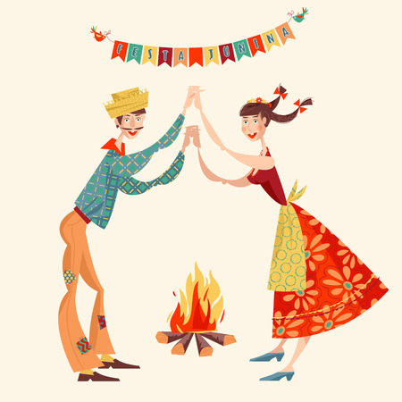 Brazilian holiday Festa Junina (the June party). Couple dancing traditional dance Quadrilha. Vector illustration Vektorové ilustrace