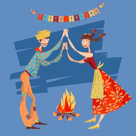 traditional dance: Brazilian holiday Festa Junina (the June party). Couple dancing traditional dance Quadrilha. Vector illustration