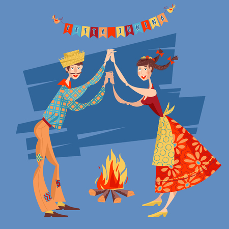 Brazilian holiday Festa Junina (the June party). Couple dancing traditional dance Quadrilha. Vector illustration Zdjęcie Seryjne - 57887009