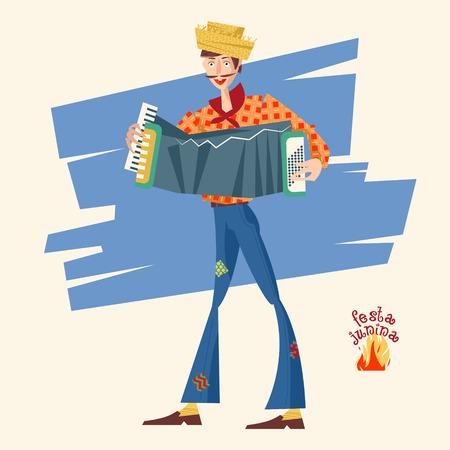 latina america: Boy with an accordion. Brazilian holiday Festa Junina (the June party). Vector illustration