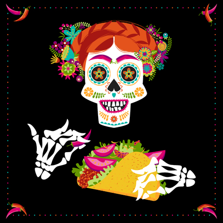 Smiling skull with taco and a hairdo decorated with various flowers. Mexican food. Vector illustration