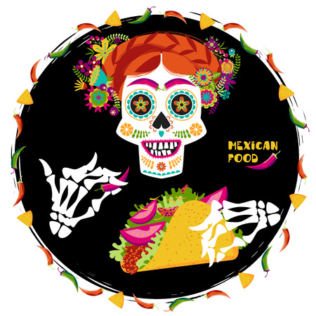 Mexican food. Scull with a hairdo decorated with various flowers and skeleton hand holding a taco. Vector illustration Illustration