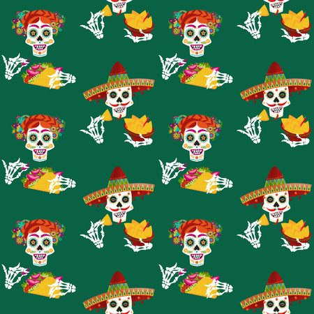 Mexican food. Smiling skulls with nachos and tacos. Seamless background pattern. Vector illustration