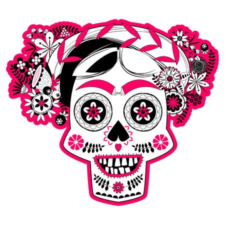 笑顔の花とスカル、髪型が飾られています。ラ カラベラ カトリーナ。Mexica。ブラック ホワイトとピンク。ベクトル図