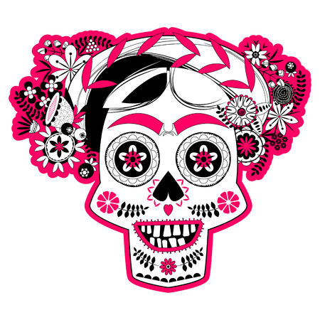 calavera: Smiling skull with a flower decorated hairdo. La Calavera Catrina. Mexica. Black white and pink. Vector illustration