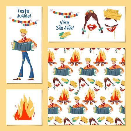 Set of 4 greeting card. Brazilian holiday Festa Junina (the June party).Template. Vector illustration