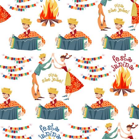 Brazilian holiday Festa Junina (the June party). Seamless background pattern. Vector illustration Vektorové ilustrace
