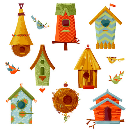 incubation: Set of multi-colored birdhouses of various shapes. illustration
