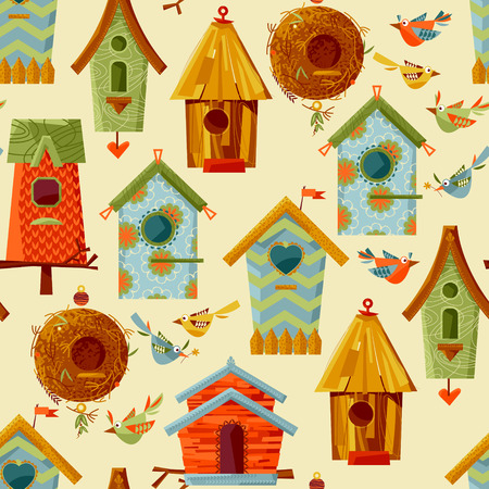 aviary: Multi-colored birdhouses and birds. Seamless background pattern. illustration Illustration