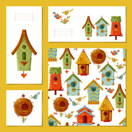 incubation: Set of 4 universal cards with birdhouses and birds. Template. illustration Illustration