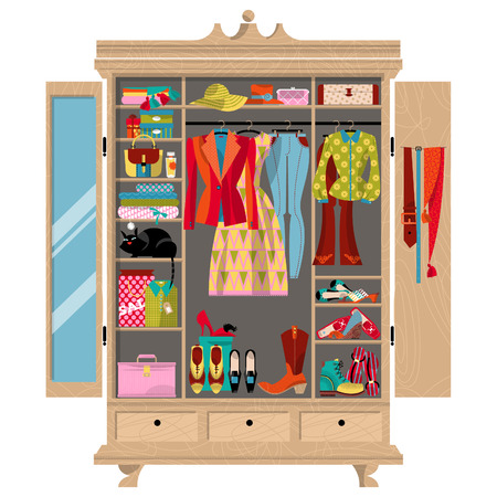 dressing room: Wardrobe for cloths. Closet with clothes, bags, boxes and shoes. Shopping Time. illustration