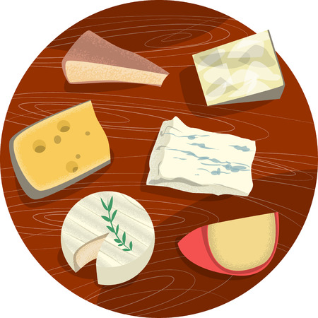 edam: Set of cheeses. Cheese plate. illustration