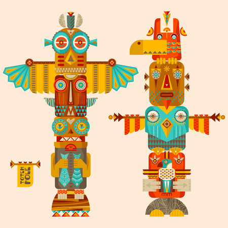 canada aboriginal: Multi-colored totem poles. illustration
