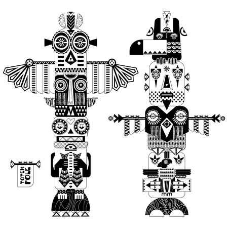 Black and white decorative totem poles. illustration Çizim