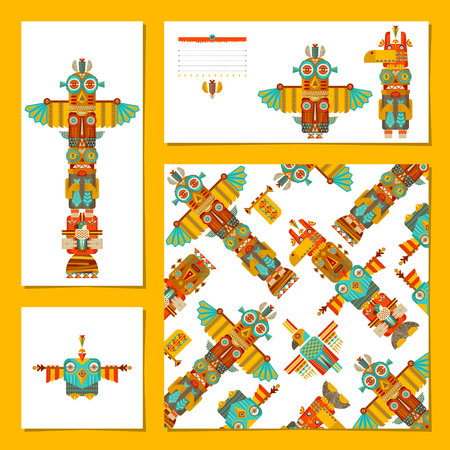 carpentry cartoon: Set of 4 universal cards with totem poles. Template. Party, birthday, holiday. illustrationIn