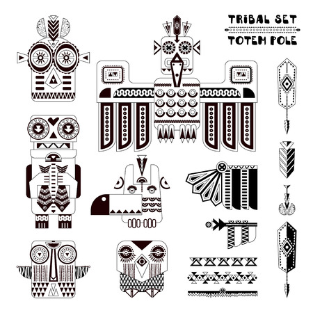 Black and white tribal set. Set of stylized indian totem pole elements. illustration Ilustração