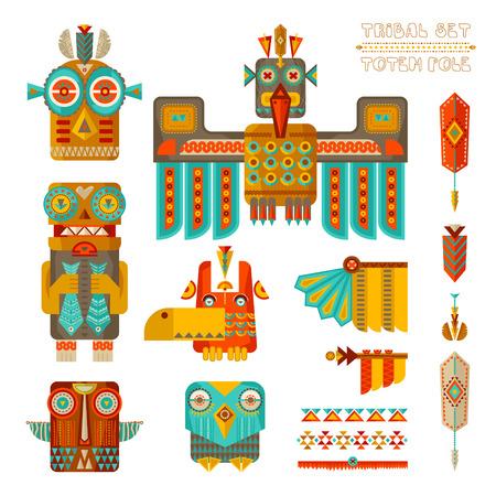totem indien: ensemble tribal. Ensemble d'éléments de pôle de totem indien stylisé. illustration
