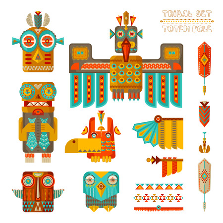 Tribal set. Set of stylized indian totem pole elements. illustration