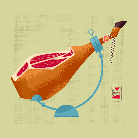 Traditional spanish food.  Dry-cured Spanish ham.  illustration Ilustração