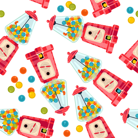 gumball: Gumball machine. Seamless background pattern. Vector illustration